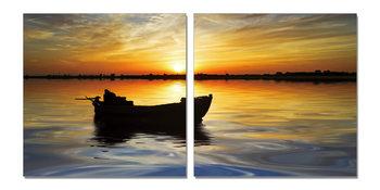 Abandoned boat at sunset Obraz