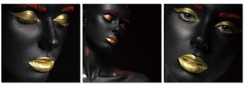 Black makeup - golden lips Obraz