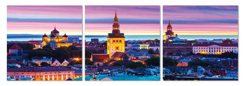 City at sunset Obraz