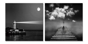 Lighthouse gray Obraz