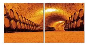 Whiskey barrels in the cellar Obraz