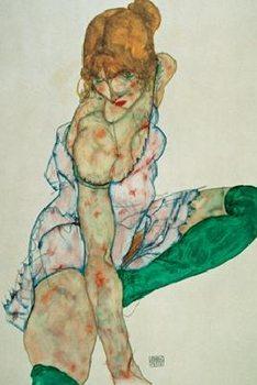 Reprodukce Blonďatá žena se zelenými punčochami