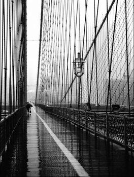 Reprodukce Brooklyn Bridge on rainning day