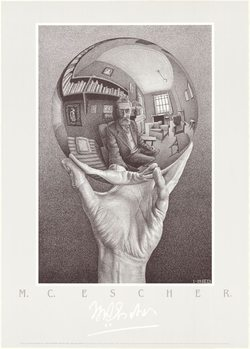 Hand with Reflecting Sphere - Self-Portrait in Spherical Mirror, 1935, Obrazová reprodukcia