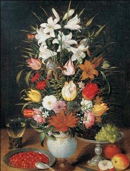 Reprodukce Jan Brueghel mladší - Váza květin s ornamenty