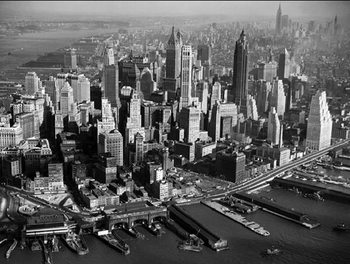 Reprodukce New York - Letecký pohled na downtown Manhattan, 1957