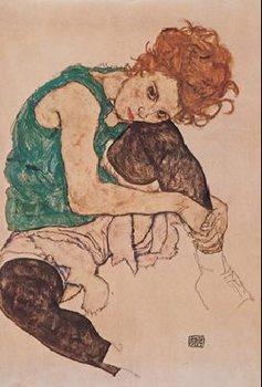 Reprodukce Umělcova žena - Sedící žena s pokrčenou levou nohou, 1917