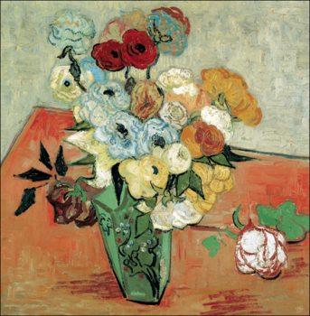 Reprodukce Zátiší: Japonská váza s růžemi a sasankami, 1890