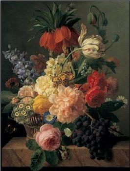 Reprodukce Zátiší s květinami a ovocem