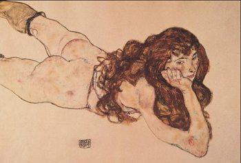 Reprodukce Ženský akt ležící na břiše, 1917