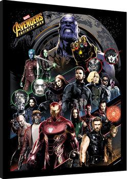 Zarámovaný plagát Avengers Infinity War - Character Coloured Bands