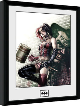 Zarámovaný plagát Batman Comic - Harley Quinn Hammer
