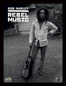Zarámovaný plagát Bob Marley - Rebel Music