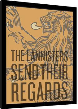 Zarámovaný plagát Game of Thrones - The Lannisters Send Their Regards