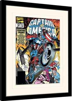 Zarámovaný plagát Marvel Comics - Captain America Fighting Chance