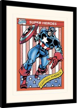 Zarámovaný plagát Marvel Comics - Captain America Trading Card