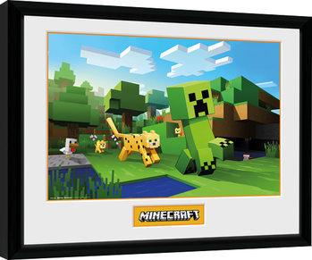 Zarámovaný plagát Minecraft - Ocelot Chase