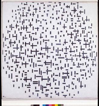 Obraz na plátně Compositie in zwat en wit (Composition with lines, more or less) Painting by Piet Mondrian  1917 Sun 108,4x108, 4 cm Otterlo, Rijksmuseum Kroller-Muller