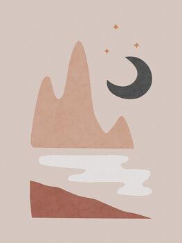 Obraz na plátně Landscape & Moon