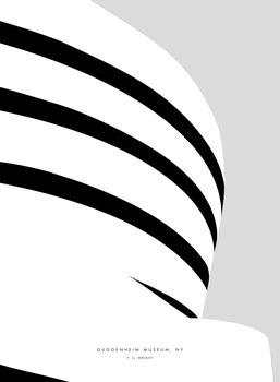 Obraz na plátně Minimal Guggenheim museum NY illustration