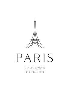 Obraz na plátně Paris coordinates with Eiffel Tower