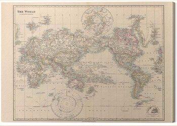 Obraz na plátně Stanfords - Pacific-Centred World Map