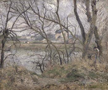 Obraz na plátně The Banks of the Oise, near Pontoise, Cloudy Weather, 1878