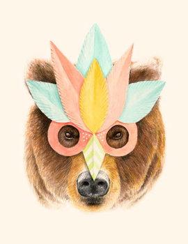 Obraz na plátně The Bear with the Paper Mask