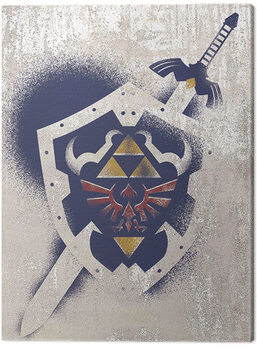 Obraz na plátně The Legend Of Zelda - Hylian Shield Stencil