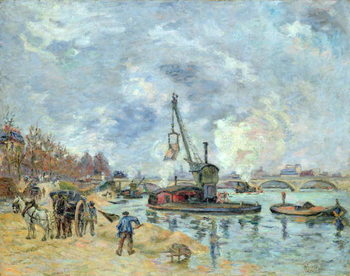 Obraz na plátně  At the Quay de Bercy in Paris, 1874