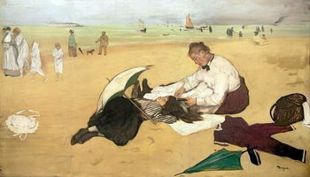 Obraz na plátně Beach scene: little girl having her hair combed by her nanny, c.1876-77