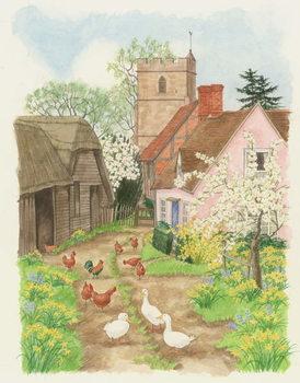 Obraz na plátně Church and Farm Track, 1998