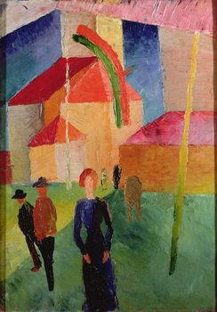 Obraz na plátně Church Decorated with Flags