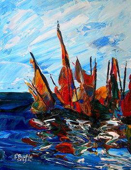 Obraz na plátně Voiliers au port a bainet, 2009