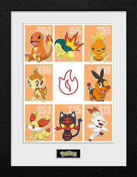Zarámovaný plagát Pokemon - First Partner Fire