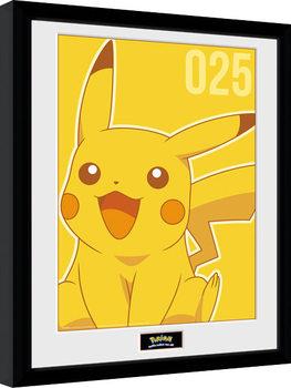 Zarámovaný plagát Pokemon - Pikachu Mono
