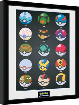Zarámovaný plagát Pokemon - Pokeballs