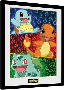Zarámovaný plagát Pokemon - Starters Glow