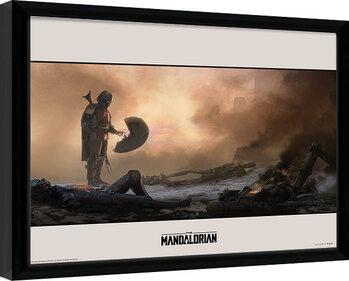 Zarámovaný plagát Star Wars: The Mandalorian - Meet
