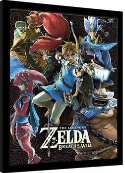 Zarámovaný plagát The Legend Of Zelda: Breath Of The Wild - Divine Beasts Collage