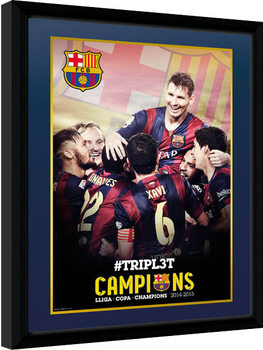 Barcelona - Triple Champions 15 oprawiony plakat