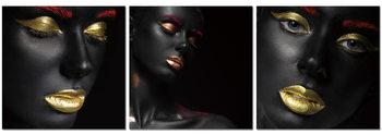 Obraz Black makeup - golden lips
