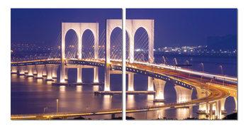 Obraz  Brooklynský most v noci