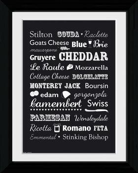 Cheese - Types zarámovaný plakát