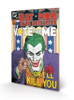 Obraz na drewnie DC COMICS - joker / vote for m