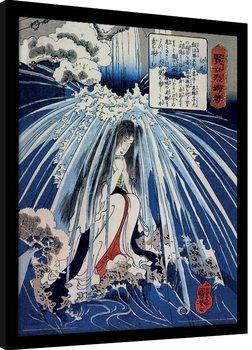 Kuniyoshi - Tonosawa Waterfall oprawiony plakat