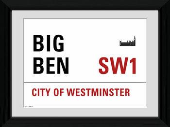 London - Big Ben zarámovaný plakát