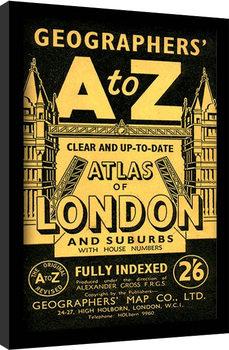 Londýn - A-Z Vintage zarámovaný plakát