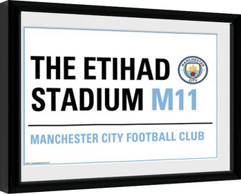 Manchester City - Street Sign Zarámovaný plagát
