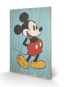 Obraz na drewnie Myszka Miki (Mickey Mouse) - Retro